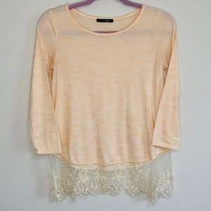 Papermoon lace sheer 3/4 sleeve top
